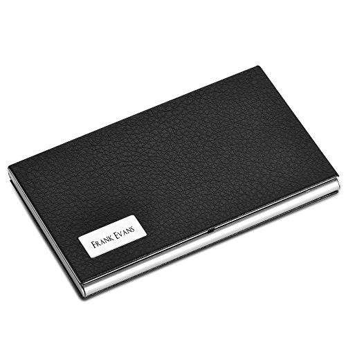 5 Colors Customized Engravable Business Card Holder Custom Leather Stainless Steel Card Case Business Gift (Black)