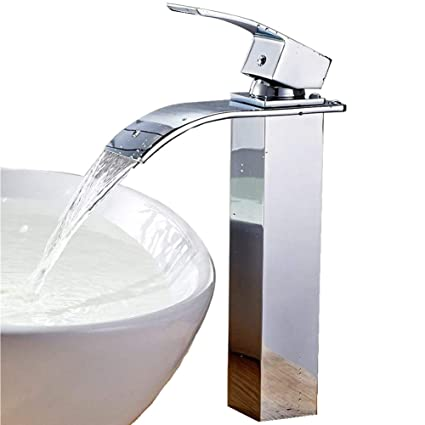 Delightful Auralum Waterfall Faucet Bathroom Basin Sink Faucet Hot/Cold Mixer Faucet  Chrome Finish Tall Spout