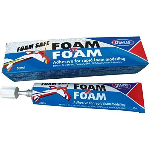 Deluxe Materials DLMAD34 Foam 2 Foam, Foam Safe Glue 50ml: EPO, EPS, Wood