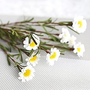 Elevin(TM) 8 Heads Artificial Silk Fake Flowers Leaf Daisy Wedding Floral Decor Bouquet WH 12