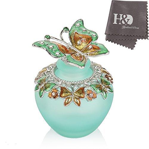 YUFENG Empty Refillable Glass Perfume Bottle,Retro Frosted Butterfly Lid Perfume Bottle (Butterfly)