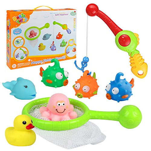 yoptote Bathtub Toys Fishing Game Bath Toys Squirt Tub Water Toys with Floating Fish Octopus Dolphin Duck Rod Scoop Net Set Fun Bath time for Kids Toddler Boys Girls, 8 PCS