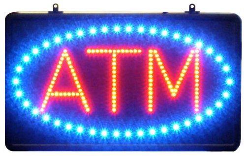 """Atm Led Sign - 22""""X13"""" Blue & Red LED ATM Sign with oval"""