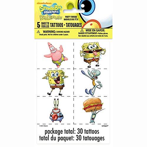 - Unique Spongebob Squarepants Temporary Tattoos, 30ct