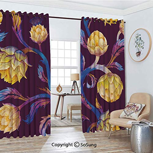 Thermal Insulated Blackout Patio Door Drapery,Art Nouveau Style Arrangement with Vibrant Colored Vegetable Vegan Decorative Room Divider Curtains,2 Panel Set,100