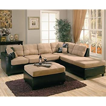 Amazon Com Harlow Right L Shaped Two Tone Sectional Sofa
