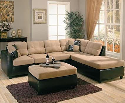 Amazon.com: Harlow Right L-Shaped Two Tone Sectional Sofa by Coaster ...