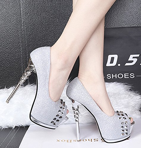 Women's Shoes Stilettos Summer Dress Platform On Aisun Court Silver Rivets Slip qpCzqdS