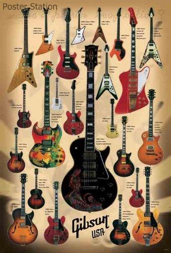 Gibson USA Guitars Poster: 25 Classics - Les Paul, clapton, h?endrix, keith Richards -