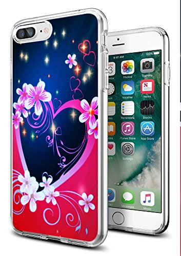 Heart Case for iPhone 8 Plus/for iPhone 7 Plus,Gifun [Anti-Slide] and [Drop Protection] Clear Soft TPU Premium Protective Case for iPhone 8 Plus/for iPhone 7 Plus-Love and Heart ()