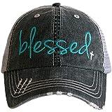 Katydid Blessed Women's Trucker Hat-Teal/White