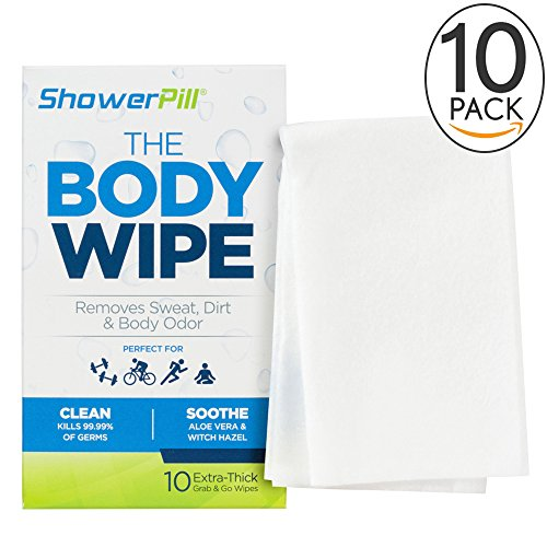 ShowerPill Body Cleaning Wipes with Special Cleansing Solution – Mens Shower Wipes – Special Cleansing Cloths – Camping Wipes for Bathing – 30 Seconds Clean with Body Gym (Double Action Trucks)