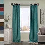 Cheap ChadMade 100W x 96L Inch Solid Matt Luxury Heavyweight Velvet Curtain Drape with Blackout Lining Flat Hook or Ring Clip Heading for Track, Everglade Teal (1 Panel)