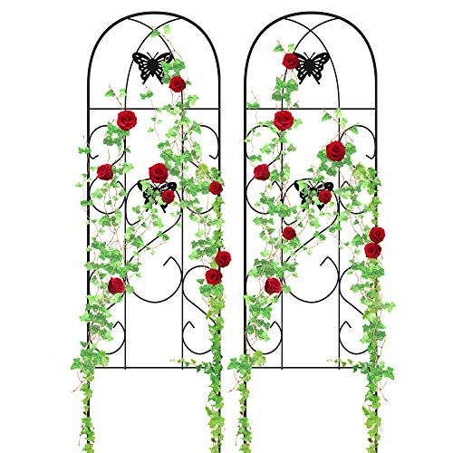 "Amagabeli Garden Trellis for Climbing Plants 60"" x 18"" Rustproof Black Iron Butterfly Potted Vines Vegetables Flowers Patio Metal Lattices Grid Panels for Ivy Roses Cucumbers Clematis Supports 2 Pack"