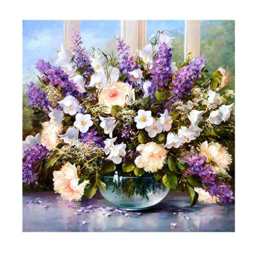 YEESAM ART New 5D Diamond Painting Kit - Rose Lavender Flowers - DIY Crystals Diamond Rhinestone Painting Pasted Paint by Number Kits Cross Stitch Embroidery -