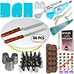 150 Pcs Cake Decorating Supplies Kit for Beginners-1 Turntable stand-48 Numbered icing tips with pattern chart & E.Book-1 Cake Leveler-Straight & Angled Spatula-3 Russian Piping nozzles-Baking tools 8 ✅ SMOOTH REVOLVING TURNTABLE: RFAQK turntable stand revolve smoothly with hidden ball bearings and helps you easily decorate cakes for birthdays, weddings and other events. It revolves clock & anti clock wise, good for both Right & Left handers. Use RFAQK straight spatula for icing round cakes from sides and angled spatula from Top while rotating turntable. Turntable is made from non-sticky, non-toxic & dishwasher safe plastic. Ideal for beginners as well as for professionals ✅ NUMBERED TIPS – EASY TO USE: This is the ONLY set having numbered tips with Pattern chart. So you don't have to worry about which tips produce what kind of decoration, just have a look on pattern chart where we have provided outcome of each tip to make tip selection very easy. ✅TOP PROFESSIONALLY SELECTED TIPS: We have selected top 48 tips including Round Tips, Leaf Tips, Petal Tips, French Tips, Basket Weave tips, open Star Tips & close Star Tips, Drop Flower tips. ✅ USEFUL ACCESSORIES. Use 3 scrapers to smooth icing on sides & top and carve designs. Use 2 couplers to exchange tips without exchanging piping bags. Use cleaning brush to clean narrow top of tips. RFAQK decorating pen helps you writing, decorating same as you doing with normal pen. Use flower nail with RFAQK petal tip to produce roses. Use flower lifter scissor to shift flower from nail to Cake
