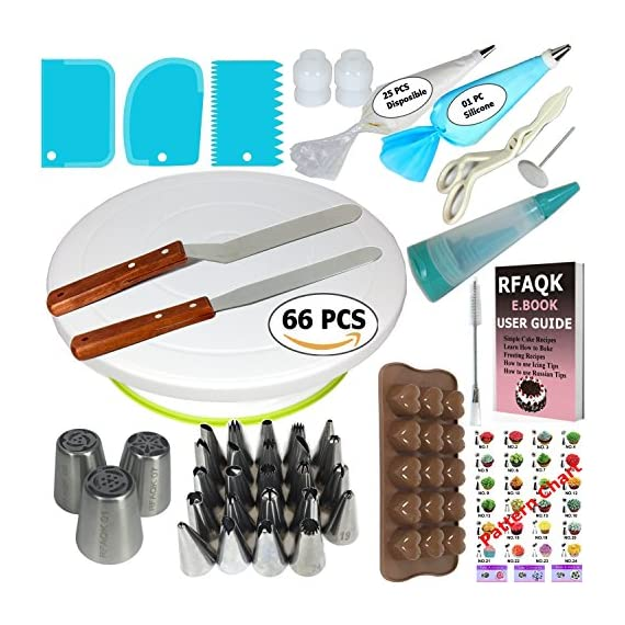 150 Pcs Cake Decorating Supplies Kit for Beginners-1 Turntable stand-48 Numbered icing tips with pattern chart & E.Book-1 Cake Leveler-Straight & Angled Spatula-3 Russian Piping nozzles-Baking tools 1 ✅ SMOOTH REVOLVING TURNTABLE: RFAQK turntable stand revolve smoothly with hidden ball bearings and helps you easily decorate cakes for birthdays, weddings and other events. It revolves clock & anti clock wise, good for both Right & Left handers. Use RFAQK straight spatula for icing round cakes from sides and angled spatula from Top while rotating turntable. Turntable is made from non-sticky, non-toxic & dishwasher safe plastic. Ideal for beginners as well as for professionals ✅ NUMBERED TIPS – EASY TO USE: This is the ONLY set having numbered tips with Pattern chart. So you don't have to worry about which tips produce what kind of decoration, just have a look on pattern chart where we have provided outcome of each tip to make tip selection very easy. ✅TOP PROFESSIONALLY SELECTED TIPS: We have selected top 48 tips including Round Tips, Leaf Tips, Petal Tips, French Tips, Basket Weave tips, open Star Tips & close Star Tips, Drop Flower tips. ✅ USEFUL ACCESSORIES. Use 3 scrapers to smooth icing on sides & top and carve designs. Use 2 couplers to exchange tips without exchanging piping bags. Use cleaning brush to clean narrow top of tips. RFAQK decorating pen helps you writing, decorating same as you doing with normal pen. Use flower nail with RFAQK petal tip to produce roses. Use flower lifter scissor to shift flower from nail to Cake
