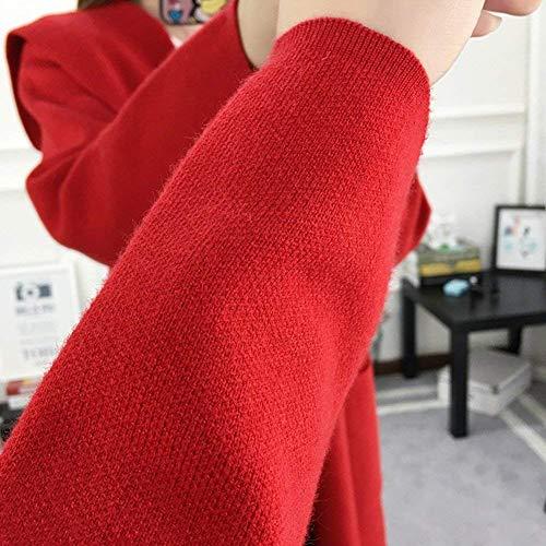 Cardigan Giacca Festiva Con Colore Manica Casuali Tasche Moda Eleganti Abbigliamento Autunno Donna Lunga Puro Cappotto A Maglia Vintage Outerwear Invernali Rosso S8rUaSg
