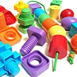 Best Jumbo Stringing Beads & Nuts and Bolts for Smart Boys and Girls by Kids Korner -Primary Lacing Bead Toy & Matching Fine Motor Skills Set with Travel Backpack Montessori Occupational Therapy Toys