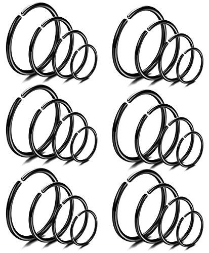 LOYALLOOK 18Pcs 20G 316L Stainless Steel Nose Ring Hoop Cartilage Hoop Septum Piercing 6-12mm (I:24PCS Black Tone)