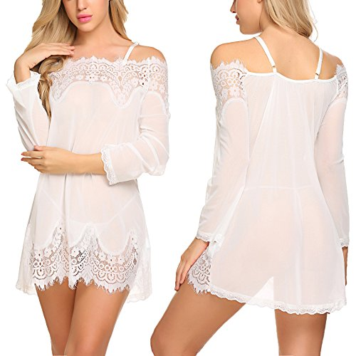 Avidlove Women Lace Smock Lingerie Babydoll Mesh Chemise Sleepwear White (White Lace Baby Doll)