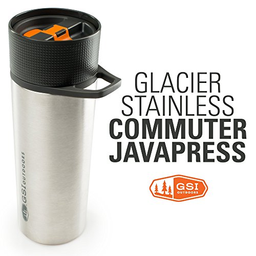 GSI Outdoors - Glacier Stainless Commuter JavaPress, French Press Coffee Mug, Superior Backcountry Cookware Since 1985