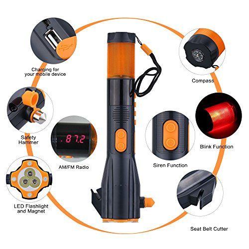 (Vehicle-mounted Hand-crank LED Flashlight Torch Safety Hammer Seat Belt Cutter Charger for Smart Phone AM/FM Radio Blink Siren)