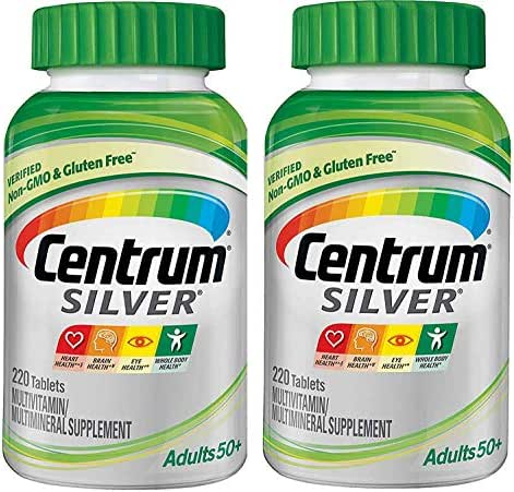 Centrum Silver Adults 50+ MultiVitamin MultiMineral Supplement for Heart, Brain Eye and Whole Body Health (220 Tablets) Pack of 2