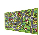 Amy & Delle Kids Rug -Large Play Mat - Thick Woven Carpet, Anti Skid, Colorful City Street Theme for Playing with Cars and Toys - Promotes Educational and Imaginative Fun Play