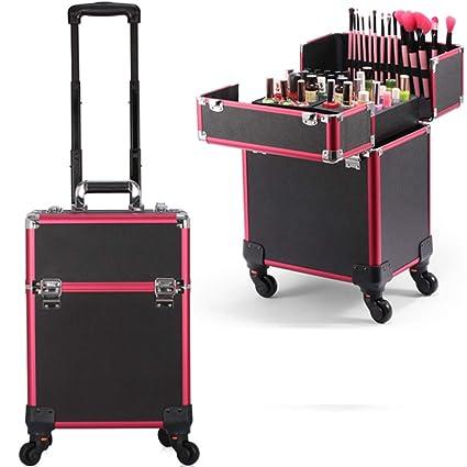 Maleta para Maquillaje Profesional Maletín de cosméticos Maleta para peluquería Varios Niveles con 4 Ruedas giratorias