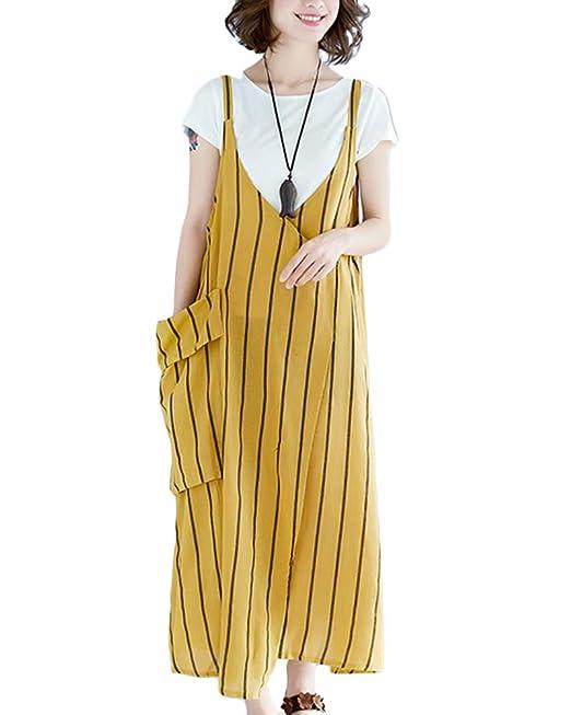 ZhuikunA Peto Vestidos Vaqueros Largos Mujer Casuales Bolsillos Sin Mangas Tiras: Amazon.es: Ropa y accesorios