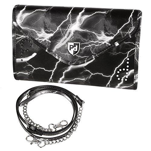 PRASACCO Umhängetasche Crossbody Tasche Schultertasche für Damen Shoulder bag mit Verstellbarem Schultergurt aus PU Leder Blitzend Blume Schwarz