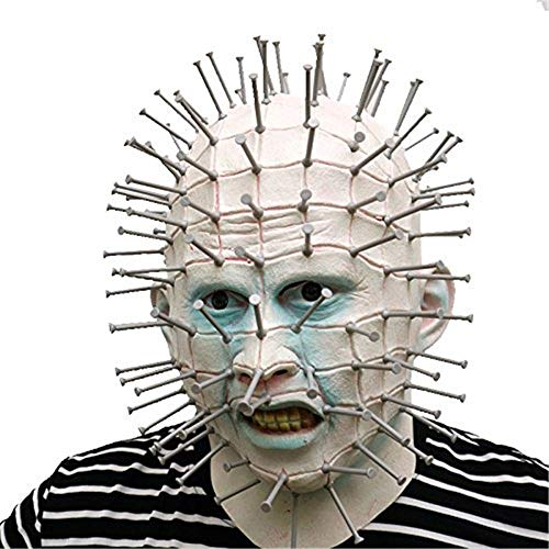 Pinhead Halloween Mask (LKNGGE Hellraiser Pinhead with Plastic Nails Horror Mask - Perfect for Carnival & Halloween - Adult Costume - Latex, Unisex One size fits)
