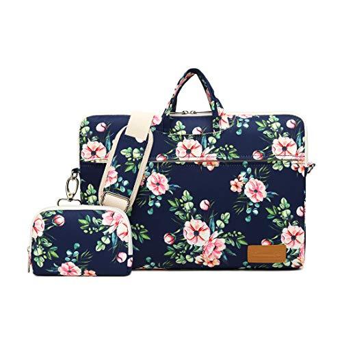 (Canvaslife Azalea Pattern 15 inch Waterproof Laptop Shoulder Messenger Bag for 14 Inch to15.6 inch Laptop and MacBook Pro 15 Laptop Case)