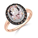 Morganite Ring with Diamond and Smoky Quartz Halo in 10k Rose Gold