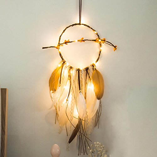 Copper Feather Table Lamp - Highpot Feather Dream Catcher 20 LED Fairy Lights Battery Powered Hanging Ornaments Bohemian Wedding Decorations, Girl Room Decoration, Nursery Decor (C)