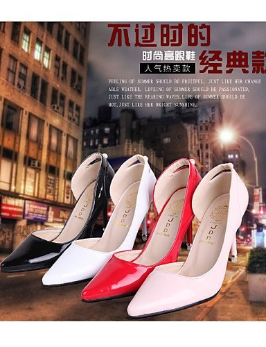 ShangYi Women's Shoes Leatherette Stiletto Heel Heels / Pointed Toe Heels Wedding / Office & Career / Casual Black / Pink / Red White NHSpnMR3LY