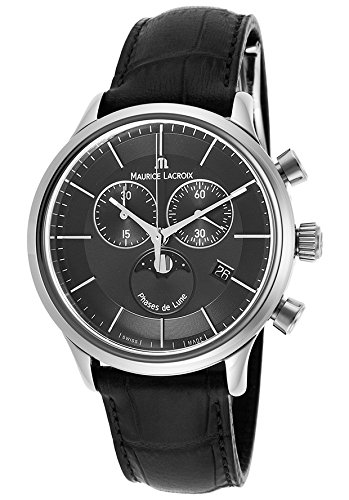 Maurice Lacroix Lc1148-Ss001-331 Men's Les Classiques Chrono Black Genuine Leather And Dial Ss Watch