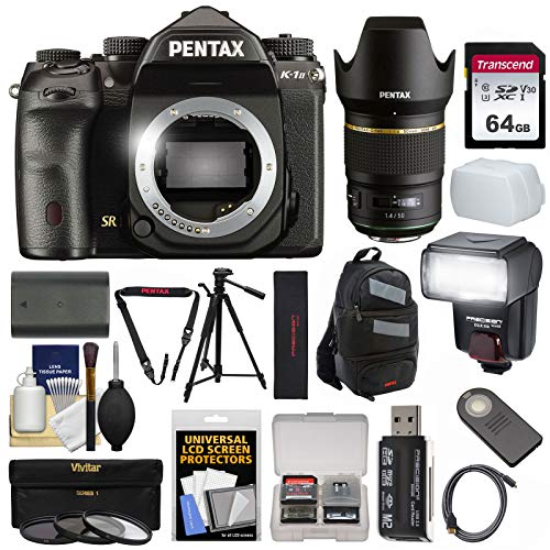 (Pentax K-1 Mark II Full Frame Wi-Fi Digital SLR Camera Body with 50mm f/1.4 Lens + 64GB Card + Battery + Flash + Backpack + Tripod + Kit)