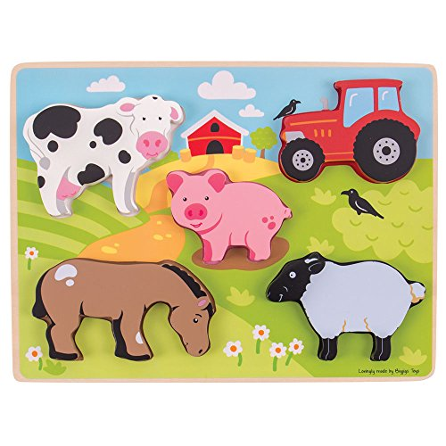 Bigjigs Toys Chunky Lift Out Farm Puzzle - Wooden Jigsaw