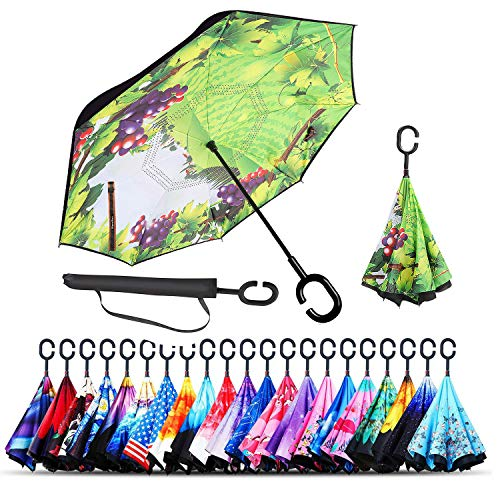 (Monstleo Inverted Umbrella,Double Layer Reverse Umbrella for Car and Outdoor Use by, Windproof UV Protection Big Straight Umbrella with C-Shaped Handle and Carrying Bag (Green Grass))