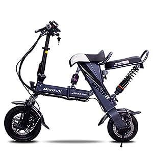 Xiaomu Bicicleta eléctrica Plegable Ligera y de Aluminio, Ruedas de 12 Pulgadas y Asiento Trasero, Motor Central de 250 vatios, Carga de 120 kg, para Adultos,Gray,30kmmax
