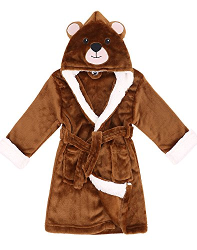 Girls Robe Zoo Crew Fuzzy Sherpa Lined Hooded Animal Bathrobe,Bear,L(7-10 Years)]()