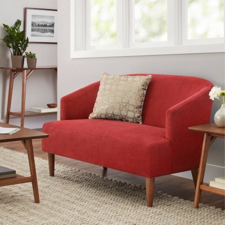 Better Homes and Gardens Reed Mid Century Modern Loveseat, Tomato by Better Homes and Gardens