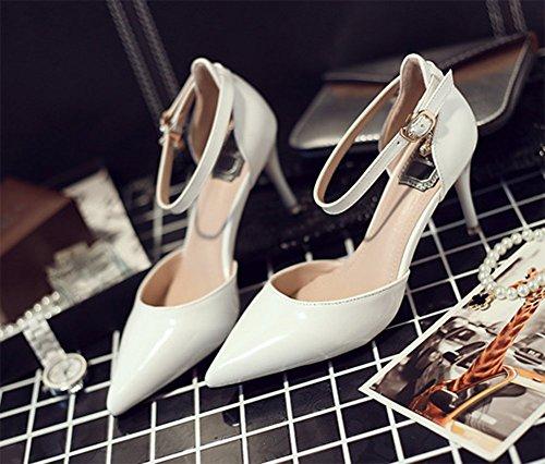 Chfso Mujeres Stilettos Correa De Tobillo Color Sólido Vestido Bombas Zapatos Blanco