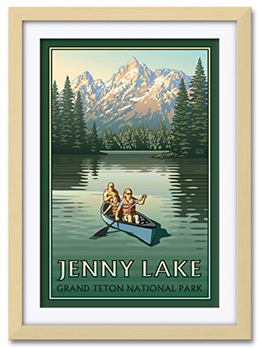 Northwest Art Mall Jenny Lake Grand Teton National Park Canoers Professionally Framed & Matted Extra-large Giclee Art Print by Paul Leighton. Print Size: 30