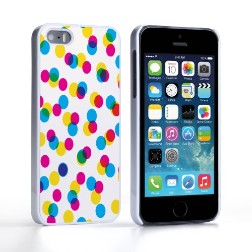 Caseflex Coque iPhone 5 / 5S Etui Multicolore Off Beat Pois Dur Housse