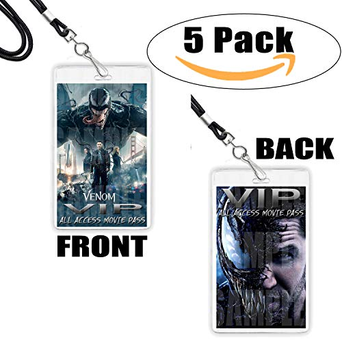 (Venom Movie VIP Pass Lanyards Necklaces Party Favors - 5 Pack 5 Necklaces,Marvel Comics Anti-Hero Eddie Brock)