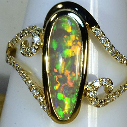 HAND MADE Natural Solid Australian Black Crystal Opal & 38 diamond cluster Solid 18ct Yellow Gold Ring (15013)
