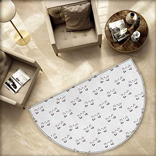 Kitten Semicircle Doormat Sketching of a Blushing Cat Face Features Cartoon Style Hand Drawn Cat Whiskers Halfmoon doormats H 59
